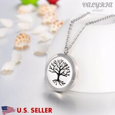 Tree of Life Round Aromatherapy Perfume Essential Oil Diffuser Necklace Locket
