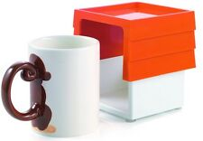 Set of 4 Monkey Coffee Mugs With Mug Holder Gift Box Stops Spilling and Leakage