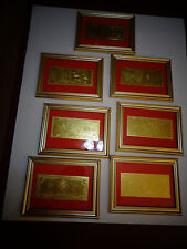 LOT OF 7- $1-$2-$5-$10-$20-$50-$100-24 KT 999.9% GOLD USA BILL SET,EACH  FRAMED-