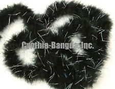 "15g BLacK w/SilVer marabou feather boa boas 2""W 72""L for sewing and crafting"