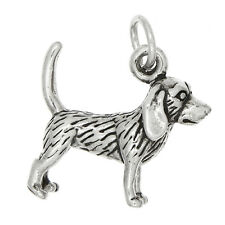 NEW STERLING SILVER SOLID BEAGLE DOG CHARM OR PENDANT