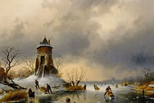 Oil Charles Henri Joseph Leickert a winter landscape with skaters on the ice art