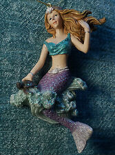 Purple Mermaid Princess & Sea Turtle Nautical Christmas Ornament Home Decor NEW