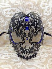 Black Full Skull Laser cut Venetian Masquerade Mask Metal Filigree w/ Blue Stone