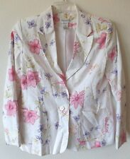Chadwick's Womens 8P Off White Floral Linen Cotton B/F Jacket Coat GUC