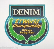 VECCHIO ADESIVO AUTO F1 / Old Sticker DENIM F1 WILLIAMS RACING TEAM (cm 11 x 11)