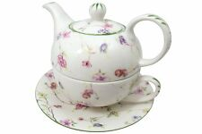 Delton Porcelain Tea for One Gift Set  Stacked Teapot Cup & Saucer  PLUM BLOSSOM