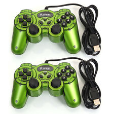 Lot 2 USB Vibration Shock Gamepad Controller Joystick Joypad for PC Laptop Green