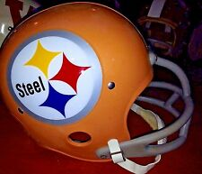 Pittsburgh Steelers 1962 STEEL Throwback LOGO Vintage Gold Football Helmet Old