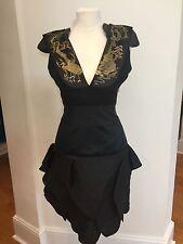 Alexander McQueen Samurai Embellished Shoulder Black Dress