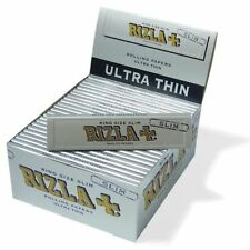 RIZLA SILVER KING SIZE ULTRA THIN SLIM ROLLING PAPERS BOX OF 50 BOOKLETS