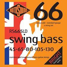 Rotosound RS665ld Acero Steel 5-Cuerdas Bajo Guitarra Cuerdas Gauge 45-130