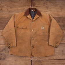 "Mens Vintage Carhartt Blanket Lined Workwear Chore Jacket Brown L 44"" R5222"