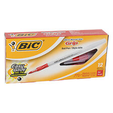 BIC Ultra Round Stic Grip Ballpoint Pen, Red Ink, Medium Point, Pack of 12