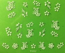 Nail Art 3D Decal Stickers White Butterflies & Flowers with Rhinestones Y002