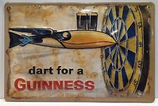 Guinness Dart For  Guinness Embossed 3D Metal Vintage Pub Bar Licensed Sign