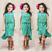 Kids Girls Children Summer Lace Party Princess Dress Age 2-3-4-5-6-7-8-9-10-11Y