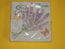 1 Packung 20 Servietten Lavendel lavender Schmetterlinge Herz Duftsäckchen Zweig