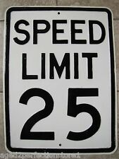 Old SPEED LIMIT 25 Sign - Heavy Embossed Steel miles per hour transportation adv