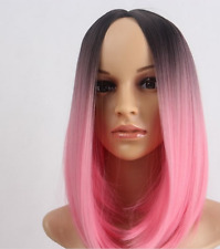Pink Heat Resistant Synthetic Lace Front Ombre Wigs Straight Bob Wigs Short