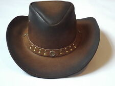 LEATHER HATS COWBOYS WESTERN STYLE BUSH HATS TOP QUALITY