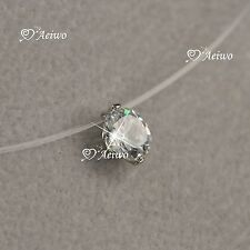 18k white gold brilliance cut Swarovski Zirconia invisible necklace 6mm mini