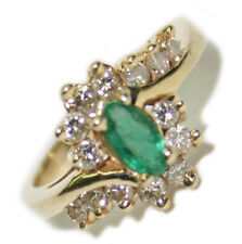 14k Yellow Gold 0.70 ct Diamond & Emerald Ring Size 4 Jewelry