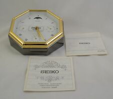 SEIKO Executive Desk Calendar Clock Gunmetal Brass Moon Phase Silver Grey QQZ272