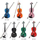 Full Size 4/4 Violin Fiddle Basswood White/Pink/Nature Arbor Bow For Over13 M0K3