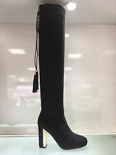 LADIES WOMENS OVER KNEE BLACK SUEDE FAUX HIGH HEEL TASSEL BOOTS SHOES SIZE 6