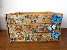 SHABBY CHIC WOODEN CRATE STORAGE BOX BUTTERFLY FLORAL RUSTIC