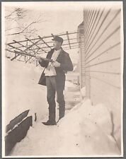 1900'S CATSKILL COXSACKIE NEW YORK MAN'S NAME FRANK WILKES FLINTLOCK RIFLE PHOTO