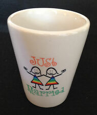 """JUST MARRIED Two Women Holding Hands"" lesbian / gay SHOT glass! FREE SHIPPING!"