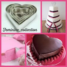 PROFFESSIONAL HEAVY DUTY 4 TIER HEART VELANTINE WEDDING CAKE BAKING TINS PANS