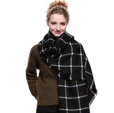 Vintage Black&White Plaid Scarf Wrap Shawl Winter Warm Blanket For Women Couple