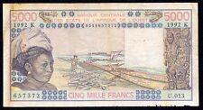 WEST AFRICAN STATES SENEGAL 5000 FRANCS 1992  P-708K