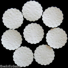 "WHITE EMBOSSED SCALLOPED PAPER COASTERS / DOILY CIRCLES 9 CM or 3.5""  x 20"