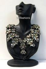 STATEMENT GLAM VINTAGE STYLE RHINESTONE DIAMANTE ABSTRACT COLLAR NECKLACE GREEN
