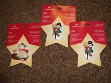 3-Vintage Hallmark Christmas Pin NIP 1995 Lapel Snowman Sled Holiday Dog Canada