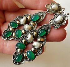 ANTIQUE SILVER STONES ETHNICS EARRINGS BIJOUX ANCIENS ARGENT MASSIF OR  PIERRES