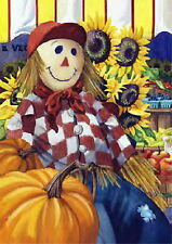 NEW LARGE TOLAND AUTUMN HARVEST FLAG FALL FARM STAND SCARECROW PUMPKINS   28X40