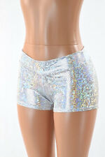 SMALL Mid Rise Silver on White Shattered Glass Rave Party Shorts Ready To Ship!