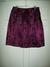 NWT New Worthington Purple Pleated Floral Brocade A-Line Dressy Skirt 8