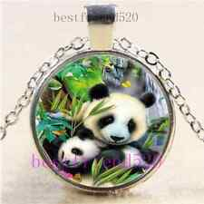 Panda Mother And Baby Cabochon Glass Tibet Silver Chain Pendant Necklace