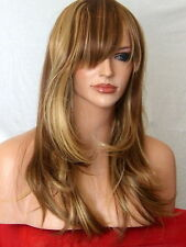 Blonde Brown Wig Party Long Full with Fringe  skin top Wigs Ladies Hair Wig K9
