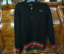 GUCCI Mens SWEATER XL FULL ZIP Jacket Cardigan Black+Green+Red~100% AUTHENTIC