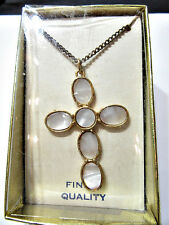 VINTAGE LUCITE CROSS FAUX MOTHER OF PEARL CLASSIC CONSERVATIVE ORIGINAL BOX