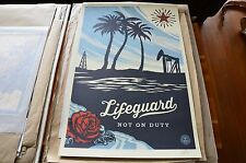Shepard Fairey Lifeguard Not on Duty Offset  poster print Damaged