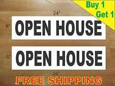 """OPEN HOUSE BLACK 6""""x24"""" REAL ESTATE RIDER SIGNS Buy 1 Get 1 FREE 2 Sided"""