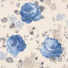 RASCH FLORENTINE FLOWER PATTERN FLORAL WATER COLOUR TEXTURE WALLPAPER WHITE BLUE